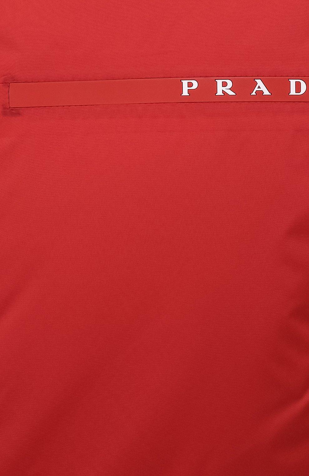 Мужская утепленная куртка PRADA красного цвета, арт. SGB296-1XYW-F0011-192   Фото 5 (Кросс-КТ: Куртка; Мужское Кросс-КТ: пуховик-короткий; Рукава: Длинные; Материал внешний: Синтетический материал; Длина (верхняя одежда): Короткие; Стили: Кэжуэл)