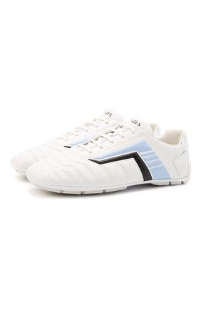 Мужские кожаные кроссовки rev PRADA белого цвета, арт. 2EG325-A21-F0AZ1 | Фото 1
