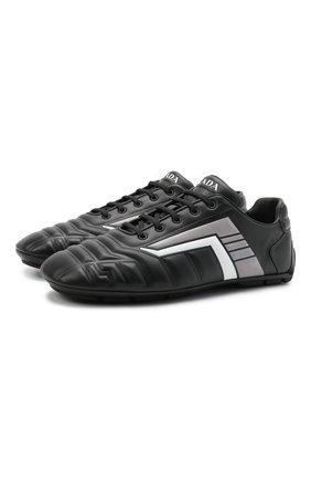 Мужские кожаные кроссовки rev PRADA черного цвета, арт. 2EG325-A21-F0700 | Фото 1 (Подошва: Плоская; Стили: Спорт)