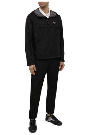 Мужские кожаные кроссовки rev PRADA черного цвета, арт. 2EG325-A21-F0700 | Фото 2 (Подошва: Плоская; Стили: Спорт)