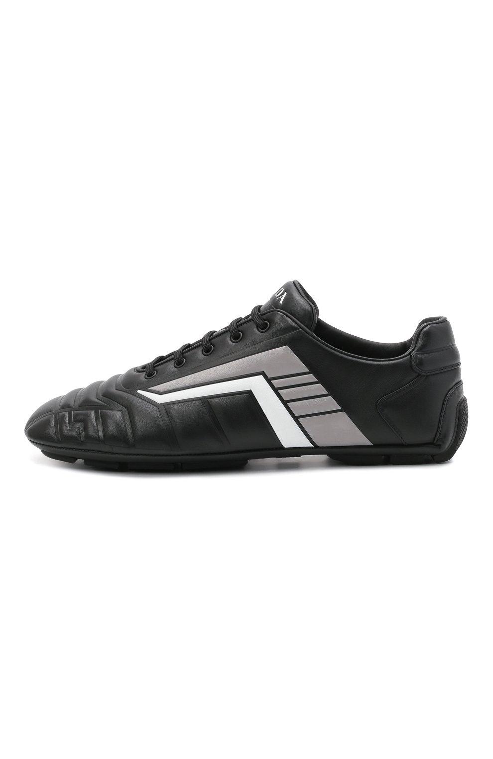 Мужские кожаные кроссовки rev PRADA черного цвета, арт. 2EG325-A21-F0700 | Фото 3 (Подошва: Плоская; Стили: Спорт)