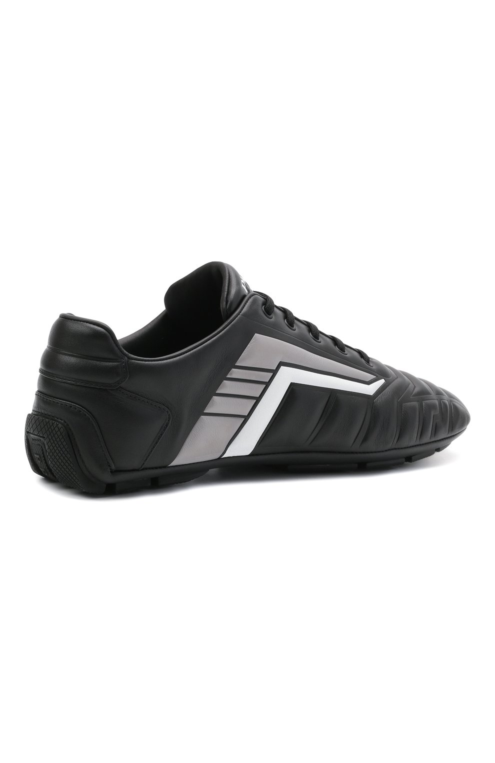 Мужские кожаные кроссовки rev PRADA черного цвета, арт. 2EG325-A21-F0700 | Фото 4 (Подошва: Плоская; Стили: Спорт)