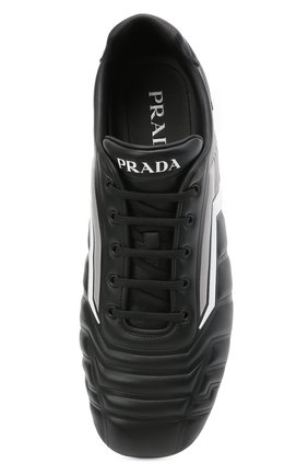Мужские кожаные кроссовки rev PRADA черного цвета, арт. 2EG325-A21-F0700 | Фото 5 (Подошва: Плоская; Стили: Спорт)