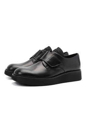 Мужские кожаные дерби PRADA черного цвета, арт. 2EG341-B4L-F0002 | Фото 1