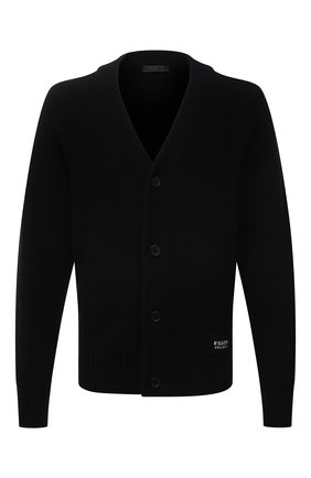 Мужской кашемировый кардиган PRADA черного цвета, арт. UMG053-1KVZ-F0002-211 | Фото 1