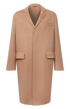 Мужской кашемировое пальто PRADA бежевого цвета, арт. UC465X-1YE6-F0040-211   Фото 1 (Длина (верхняя одежда): До колена; Материал внешний: Шерсть, Кашемир; Рукава: Длинные; Мужское Кросс-КТ: пальто-верхняя одежда; Стили: Классический)