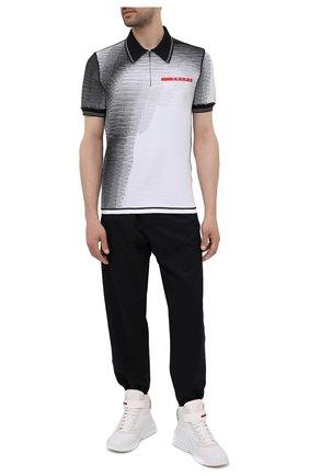 Мужское поло PRADA черно-белого цвета, арт. SMM926-1YJB-F0009-211 | Фото 2