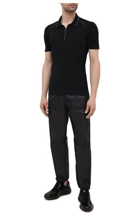 Мужское поло PRADA черного цвета, арт. SMM923-1YCE-F0967-211 | Фото 2