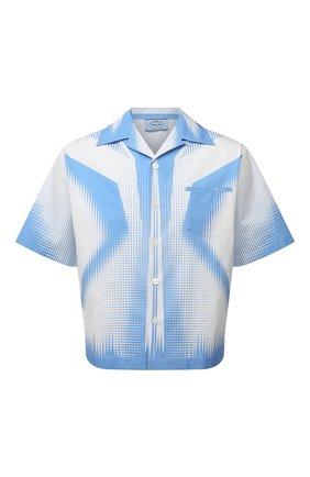 Мужская хлопковая рубашка PRADA белого цвета, арт. UCS318-1YN2-F0UB3-211 | Фото 1