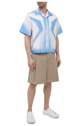 Мужская хлопковая рубашка PRADA белого цвета, арт. UCS318-1YN2-F0UB3-211 | Фото 2