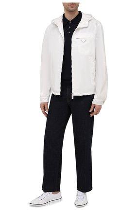 Мужские текстильные кеды PRADA белого цвета, арт. 2EG358-GUD-F0009 | Фото 2