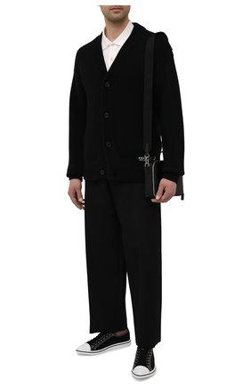 Мужские текстильные кеды PRADA черного цвета, арт. 2EG358-GUD-F0002 | Фото 2 (Материал внешний: Текстиль; Подошва: Плоская)