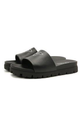 Мужские кожаные шлепанцы PRADA черного цвета, арт. 2X3060-A21-F0002 | Фото 1