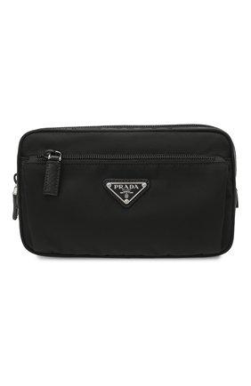 Мужская текстильная поясная сумка PRADA черного цвета, арт. 2VL977-2DMG-F0002-WOO | Фото 1 (Ремень/цепочка: На ремешке; Материал: Текстиль)
