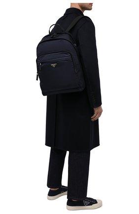 Мужской текстильный рюкзак PRADA синего цвета, арт. 2VZ048-2DMG-F0008-OOO | Фото 2 (Ремень/цепочка: На ремешке; Материал: Текстиль)