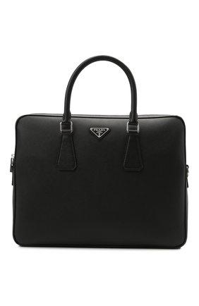 Мужская кожаная сумка для ноутбука PRADA черного цвета, арт. 2VE368-9Z2-F0002-OOX | Фото 1