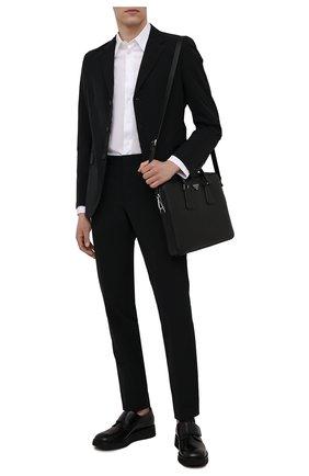 Мужская кожаная сумка для ноутбука PRADA черного цвета, арт. 2VE368-9Z2-F0002-OOX | Фото 2