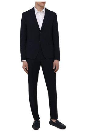 Мужские кожаные мокасины PRADA синего цвета, арт. 2DD158-053-F0216-U00I | Фото 2