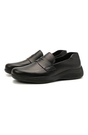 Мужские кожаные пенни-лоферы PRADA черного цвета, арт. 4D3446-B4L-F0002 | Фото 1