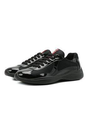 Мужские комбинированные кроссовки PRADA черного цвета, арт. 4E3400-ASZ-F0002   Фото 1