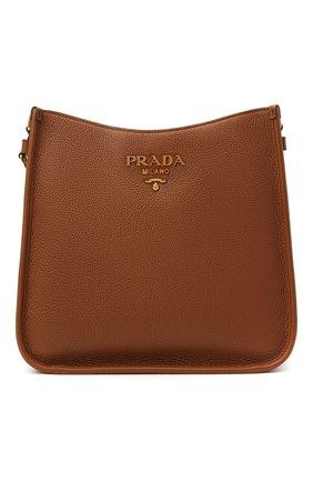 Женская сумка PRADA коричневого цвета, арт. 1BC073-2BBE-F0046-DOO   Фото 1 (Ремень/цепочка: На ремешке; Материал: Натуральная кожа; Сумки-технические: Сумки через плечо; Размер: medium)