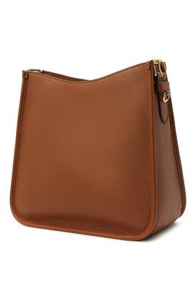 Женская сумка PRADA коричневого цвета, арт. 1BC073-2BBE-F0046-DOO   Фото 2 (Ремень/цепочка: На ремешке; Материал: Натуральная кожа; Сумки-технические: Сумки через плечо; Размер: medium)