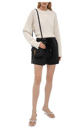 Женские кожаные шорты LOEWE черного цвета, арт. S359Y20L10 | Фото 2 (Длина Ж (юбки, платья, шорты): Мини; Материал подклада: Хлопок; Женское Кросс-КТ: Шорты-одежда)