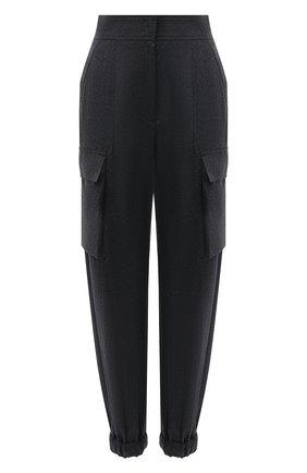 Женские шерстяные джоггеры BRUNELLO CUCINELLI темно-серого цвета, арт. ME226P7812 | Фото 1 (Материал внешний: Шерсть; Длина (брюки, джинсы): Стандартные; Женское Кросс-КТ: Джоггеры - брюки; Стили: Кэжуэл)