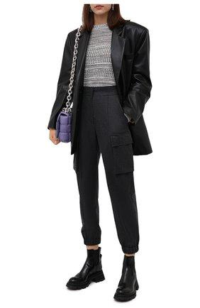 Женские шерстяные джоггеры BRUNELLO CUCINELLI темно-серого цвета, арт. ME226P7812 | Фото 2 (Материал внешний: Шерсть; Длина (брюки, джинсы): Стандартные; Женское Кросс-КТ: Джоггеры - брюки; Стили: Кэжуэл)