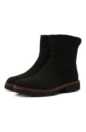 Женские замшевые ботинки KITON черного цвета, арт. D52805X04T78 | Фото 1 (Каблук высота: Низкий; Подошва: Платформа; Женское Кросс-КТ: Зимние ботинки; Материал внешний: Замша; Материал утеплителя: Натуральный мех)