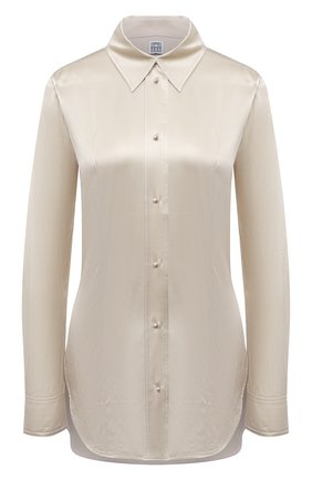 Женская шелковая рубашка TOTÊME бежевого цвета, арт. 213-725-719 | Фото 1