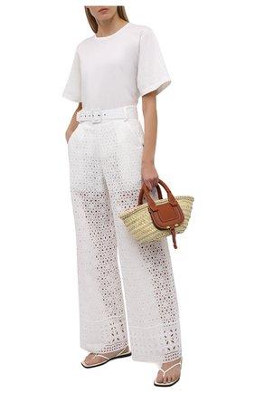 Женские хлопковые брюки CHARO RUIZ IBIZA белого цвета, арт. 213501 | Фото 2