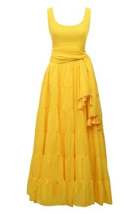 Женское хлопковое платье ERIKA PENA желтого цвета, арт. CARMENMAXIDRESS   Фото 1
