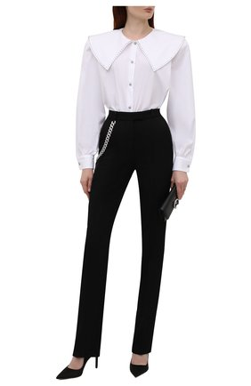 Женская хлопковая рубашка ALESSANDRA RICH белого цвета, арт. FAB2612-F3198   Фото 2