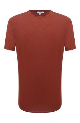 Мужская хлопковая футболка JAMES PERSE красного цвета, арт. MKJ3360 | Фото 1 (Материал внешний: Хлопок; Принт: Без принта; Рукава: Короткие; Длина (для топов): Удлиненные)