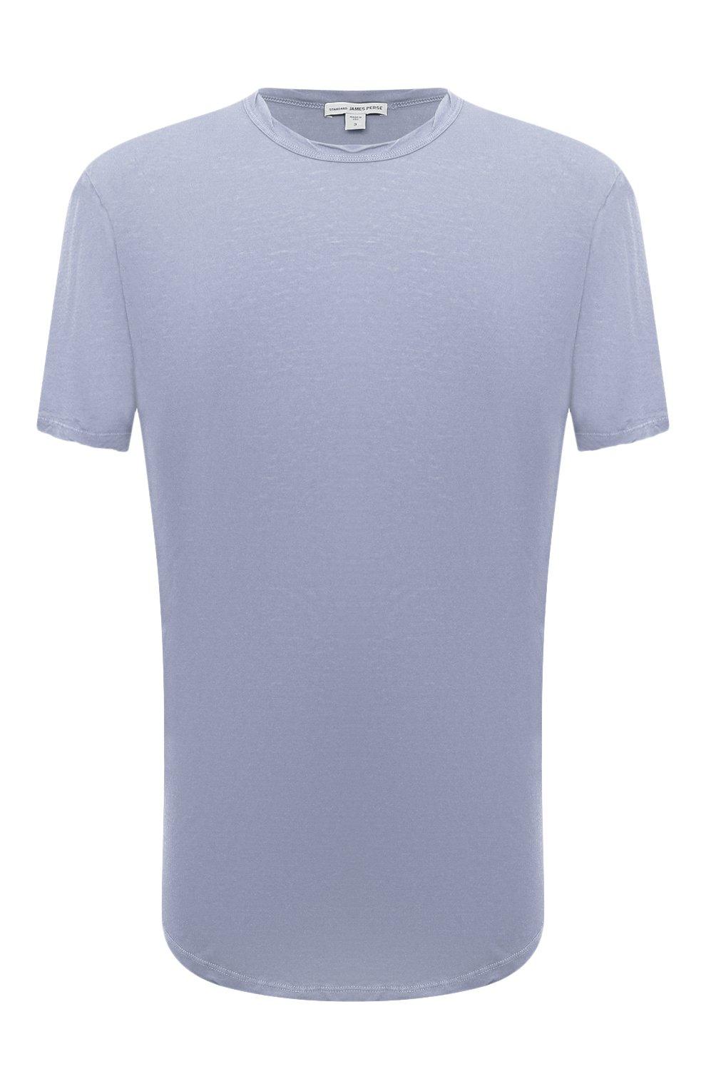 Мужская хлопковая футболка JAMES PERSE голубого цвета, арт. MKJ3360 | Фото 1 (Принт: Без принта; Рукава: Короткие; Длина (для топов): Удлиненные; Материал внешний: Хлопок)