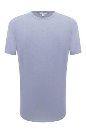 Мужская хлопковая футболка JAMES PERSE голубого цвета, арт. MKJ3360 | Фото 1 (Материал внешний: Хлопок; Принт: Без принта; Рукава: Короткие; Длина (для топов): Удлиненные)