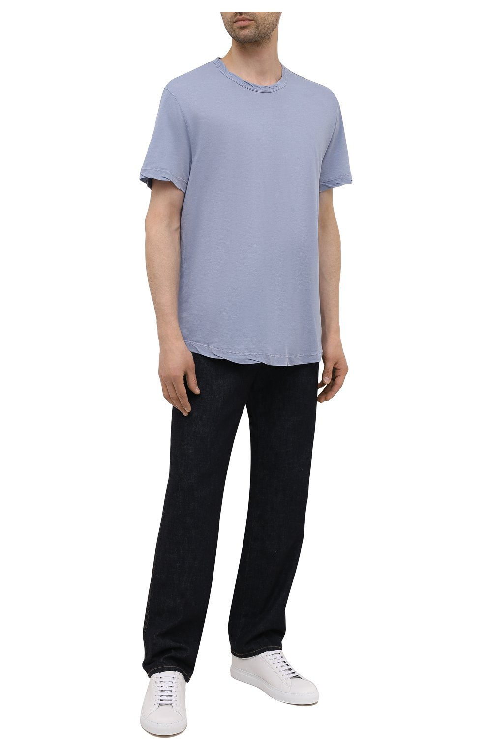 Мужская хлопковая футболка JAMES PERSE голубого цвета, арт. MKJ3360 | Фото 2 (Принт: Без принта; Рукава: Короткие; Длина (для топов): Удлиненные; Материал внешний: Хлопок)