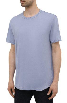 Мужская хлопковая футболка JAMES PERSE голубого цвета, арт. MKJ3360 | Фото 3 (Принт: Без принта; Рукава: Короткие; Длина (для топов): Удлиненные; Материал внешний: Хлопок)