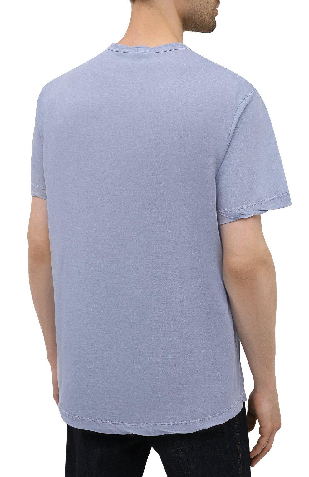 Мужская хлопковая футболка JAMES PERSE голубого цвета, арт. MKJ3360 | Фото 4 (Принт: Без принта; Рукава: Короткие; Длина (для топов): Удлиненные; Материал внешний: Хлопок)
