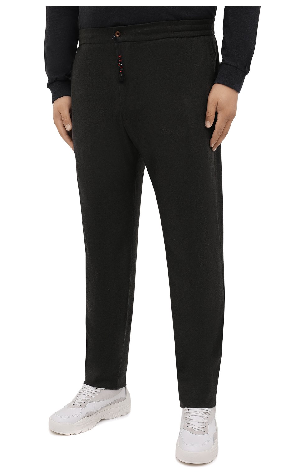 Мужские кашемировые брюки MARCO PESCAROLO темно-зеленого цвета, арт. CHIAIAM/ZIP+SFILA/4442   Фото 3 (Материал внешний: Шерсть, Кашемир; Длина (брюки, джинсы): Стандартные; Случай: Повседневный; Стили: Кэжуэл)