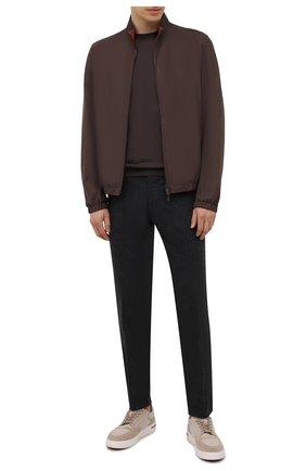Мужские брюки из шерсти и кашемира MARCO PESCAROLO темно-серого цвета, арт. SLIM80/ZIP/4431 | Фото 2
