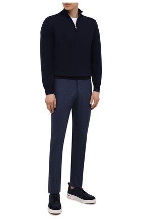 Мужские брюки из шерсти и кашемира MARCO PESCAROLO синего цвета, арт. SLIM80/ZIP/4431 | Фото 2