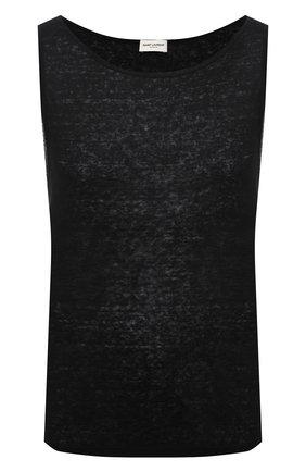 Мужская льняная майка SAINT LAURENT черного цвета, арт. 643078/YBYT2 | Фото 1 (Материал внешний: Лен; Принт: Без принта; Длина (для топов): Стандартные)