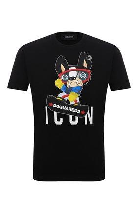 Мужская хлопковая футболка DSQUARED2 черного цвета, арт. S79GC0033/S23009 | Фото 1
