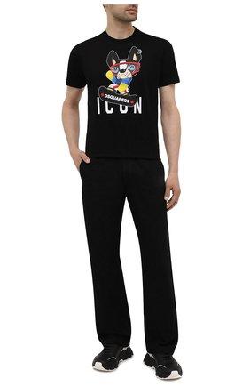 Мужская хлопковая футболка DSQUARED2 черного цвета, арт. S79GC0033/S23009 | Фото 2