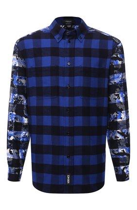 Мужская хлопковая рубашка VERSACE синего цвета, арт. 1000532/1A00450 | Фото 1