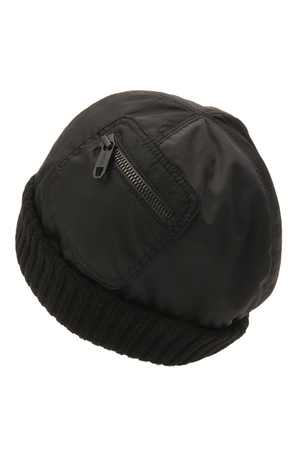 Мужская утепленная шапка Z ZEGNA черного цвета, арт. Z2I74H/B2W | Фото 2 (Материал: Текстиль; Кросс-КТ: Трикотаж)