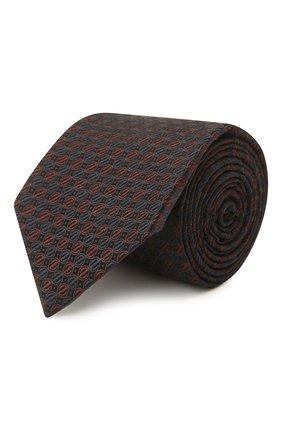 Мужской шелковый галстук ERMENEGILDO ZEGNA коричневого цвета, арт. Z2E01T/1L8   Фото 1 (Материал: Текстиль, Шелк; Принт: С принтом)