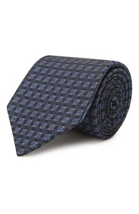 Мужской шелковый галстук ERMENEGILDO ZEGNA темно-синего цвета, арт. Z2E01T/1L8 | Фото 1 (Материал: Шелк, Текстиль; Принт: С принтом)